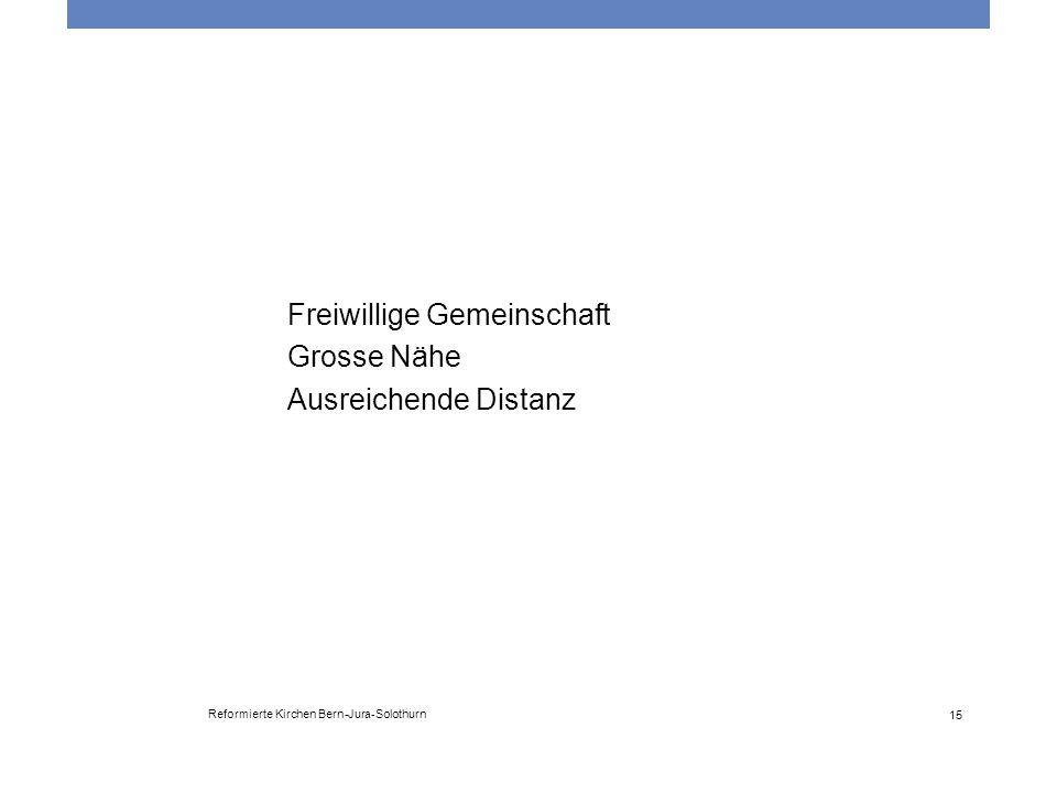 Reformierte Kirchen Bern-Jura-Solothurn 15 Freiwillige Gemeinschaft Grosse Nähe Ausreichende Distanz