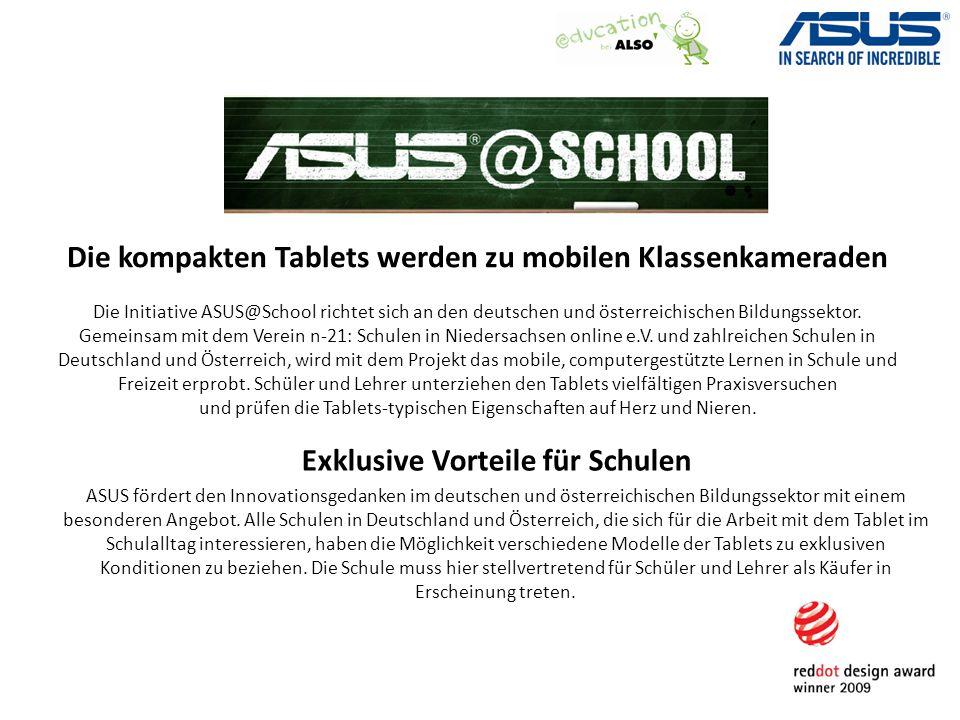 Die kompakten Tablets werden zu mobilen Klassenkameraden Die Initiative ASUS@School richtet sich an den deutschen und österreichischen Bildungssektor.