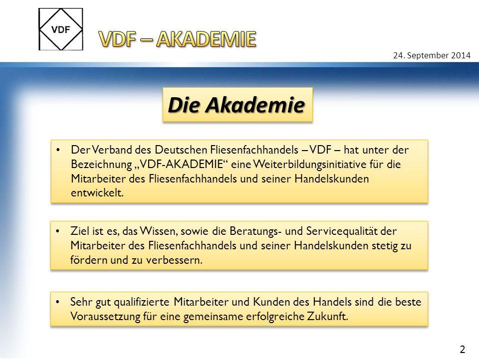"""Der Verband des Deutschen Fliesenfachhandels – VDF – hat unter der Bezeichnung """"VDF-AKADEMIE eine Weiterbildungsinitiative für die Mitarbeiter des Fliesenfachhandels und seiner Handelskunden entwickelt."""
