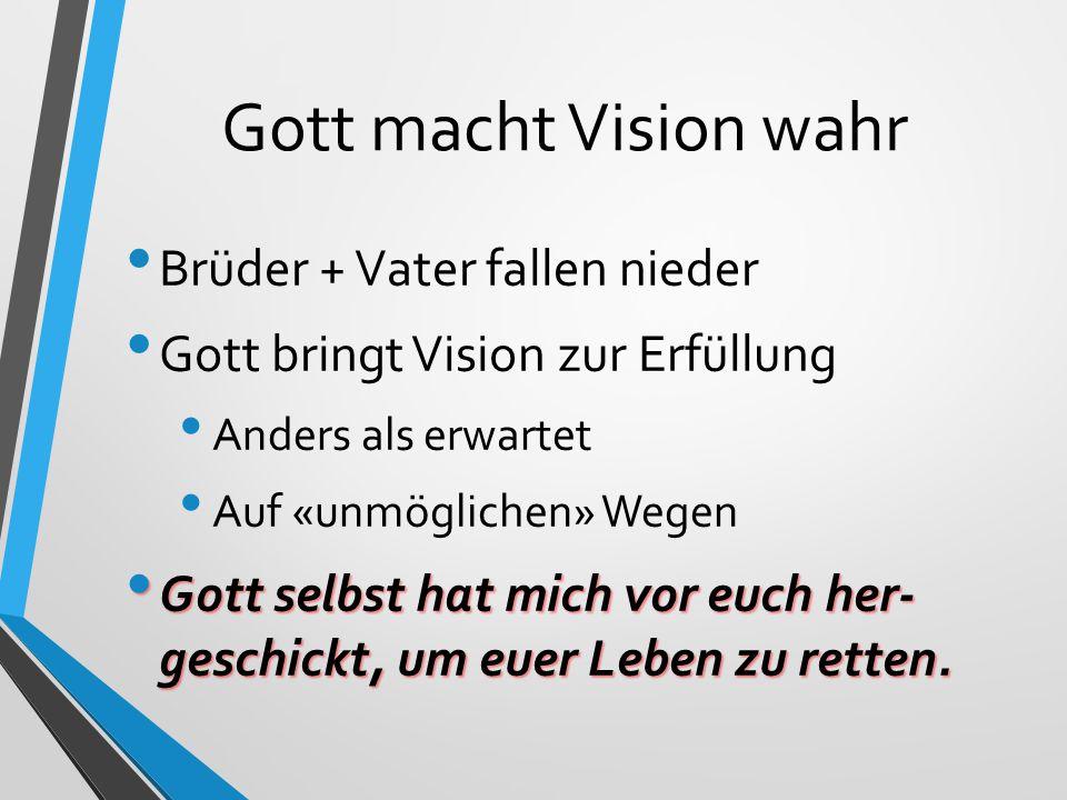 Drei Erkenntnisse Verwirklichung von Gottes Vision liegt in seiner Hand Meine Aufgabe ist die Alltags-Treue.
