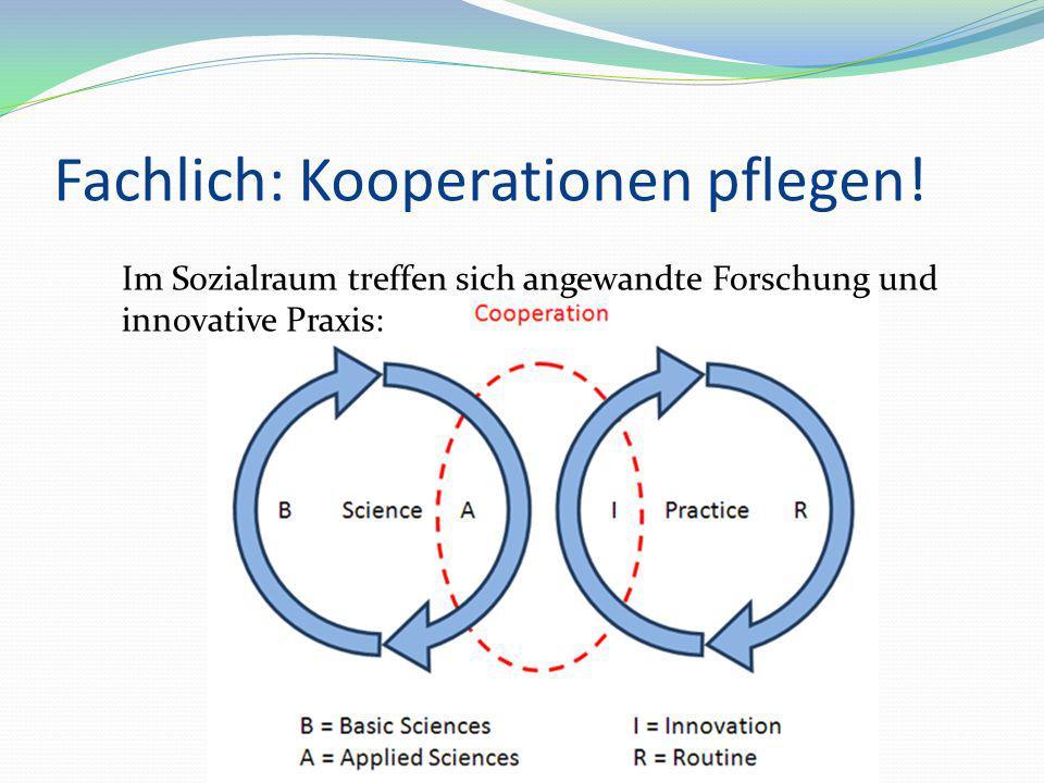 Fachlich: Kooperationen pflegen! Im Sozialraum treffen sich angewandte Forschung und innovative Praxis: