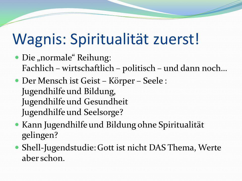 """Wagnis: Spiritualität zuerst! Die """"normale"""" Reihung: Fachlich – wirtschaftlich – politisch – und dann noch… Der Mensch ist Geist – Körper – Seele : Ju"""