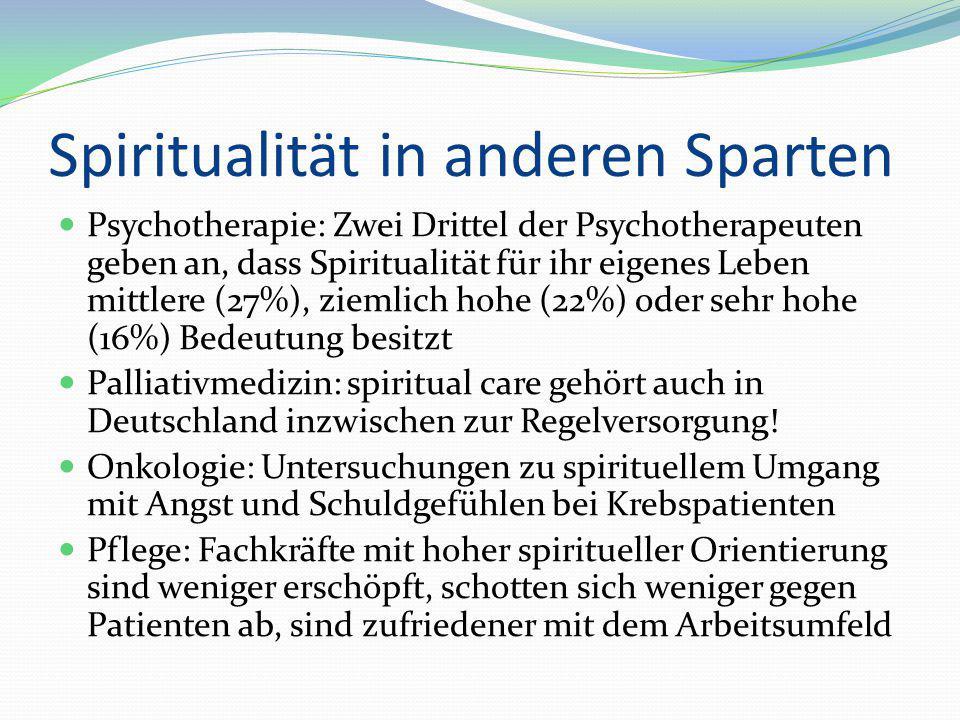 Spiritualität in anderen Sparten Psychotherapie: Zwei Drittel der Psychotherapeuten geben an, dass Spiritualität für ihr eigenes Leben mittlere (27%),