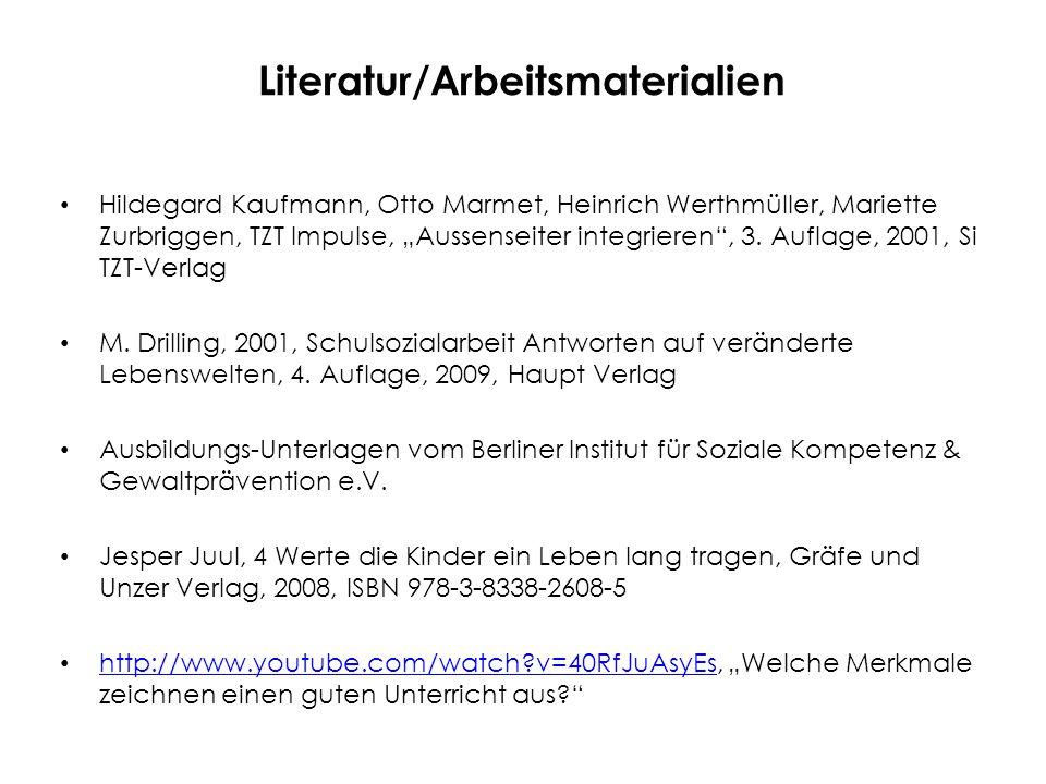 """Literatur/Arbeitsmaterialien Ben Furmann, """"Ich schaffs www.benfurmann.com; www.kidskills.org, www.ichschaffs.de Steve Biddulph; z.B."""