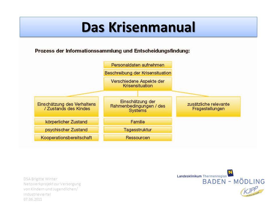 Das Krisenmanual DSA Brigitte Winter Netzwerkprojekt zur Versorgung von Kindern und Jugendlichen/ Industrieviertel 07.06.2011