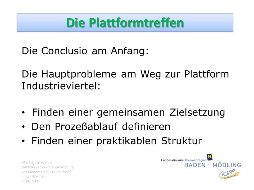 Die Plattformtreffen Die Conclusio am Anfang: Die Hauptprobleme am Weg zur Plattform Industrieviertel: Finden einer gemeinsamen Zielsetzung Den Prozeß