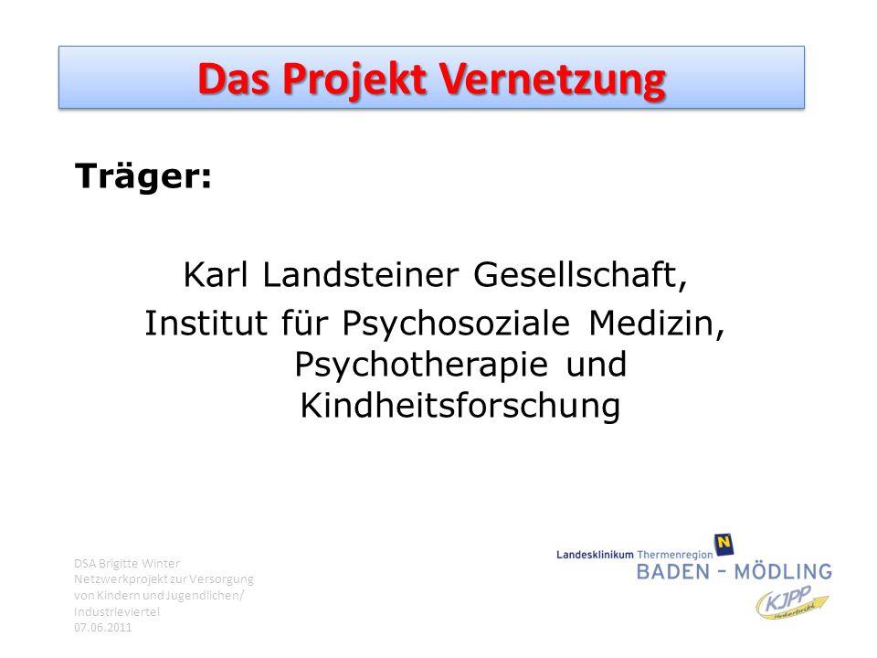 Das Projekt Vernetzung Träger: Karl Landsteiner Gesellschaft, Institut für Psychosoziale Medizin, Psychotherapie und Kindheitsforschung DSA Brigitte W