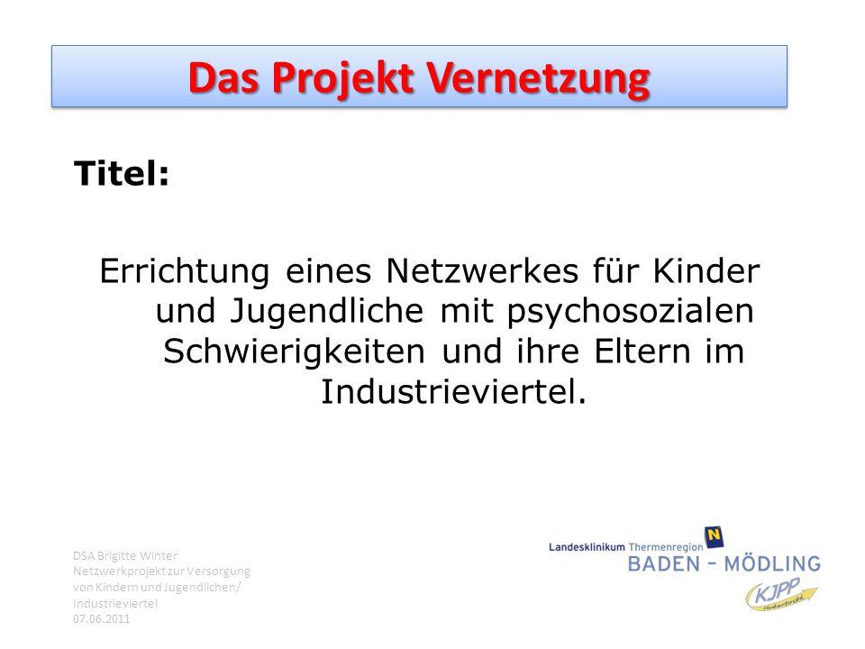 Das Projekt Vernetzung Titel: Errichtung eines Netzwerkes für Kinder und Jugendliche mit psychosozialen Schwierigkeiten und ihre Eltern im Industrievi