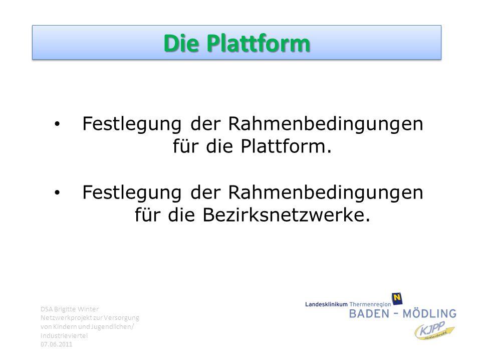 Die Plattform Festlegung der Rahmenbedingungen für die Plattform. Festlegung der Rahmenbedingungen für die Bezirksnetzwerke. DSA Brigitte Winter Netzw
