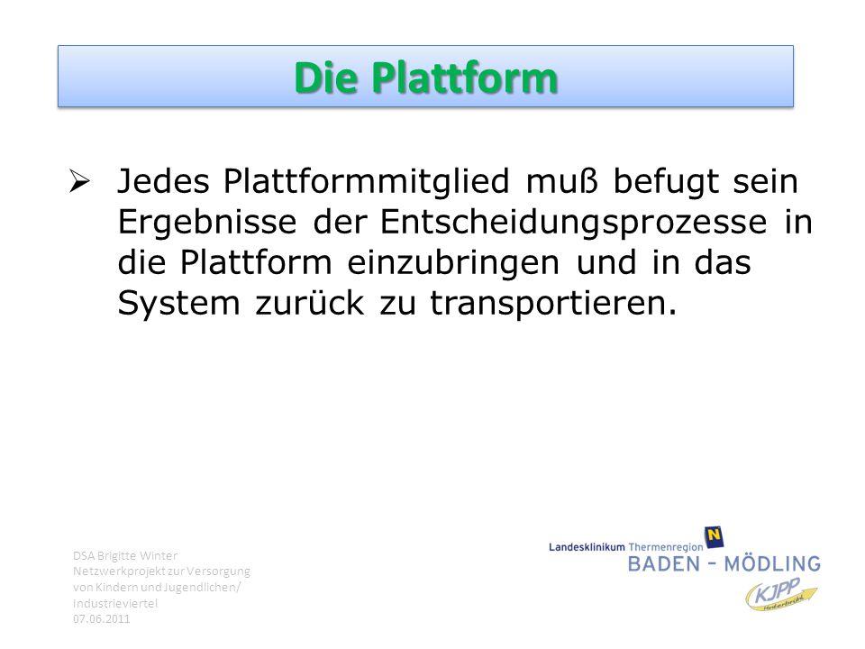 Die Plattform  Jedes Plattformmitglied muß befugt sein Ergebnisse der Entscheidungsprozesse in die Plattform einzubringen und in das System zurück zu