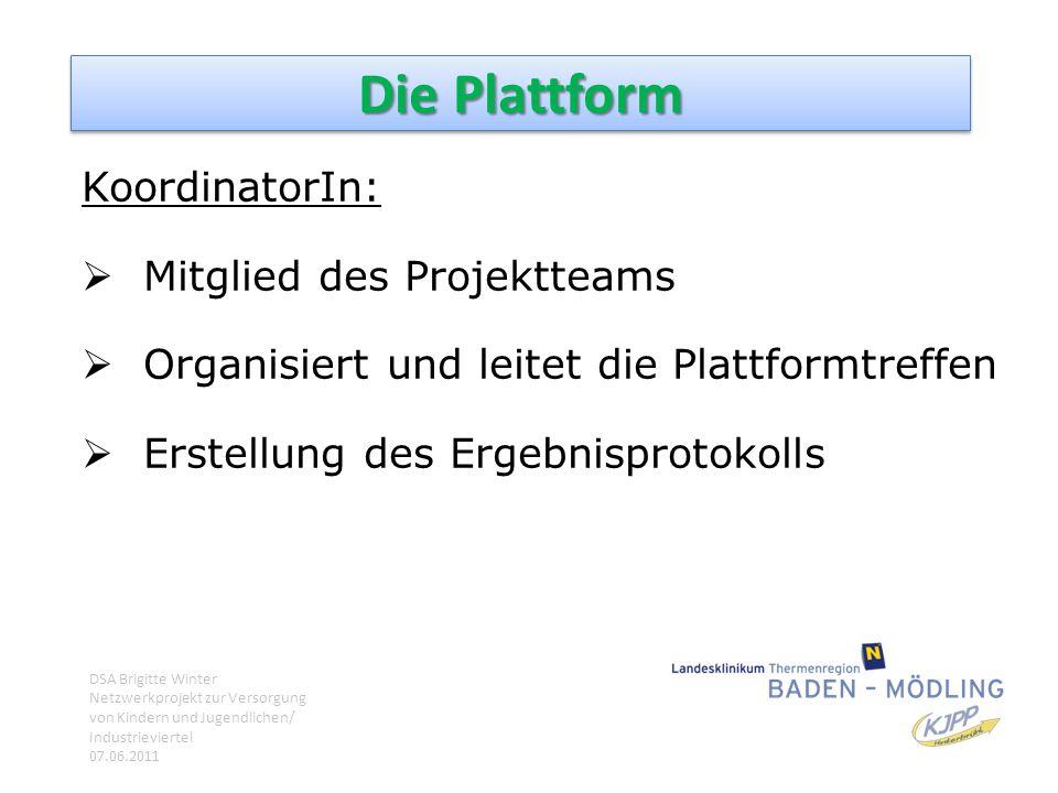 Die Plattform KoordinatorIn:  Mitglied des Projektteams  Organisiert und leitet die Plattformtreffen  Erstellung des Ergebnisprotokolls DSA Brigitt