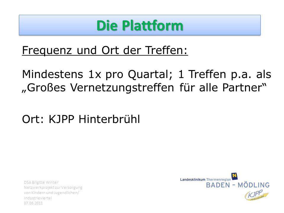 """Die Plattform Frequenz und Ort der Treffen: Mindestens 1x pro Quartal; 1 Treffen p.a. als """"Großes Vernetzungstreffen für alle Partner"""" Ort: KJPP Hinte"""