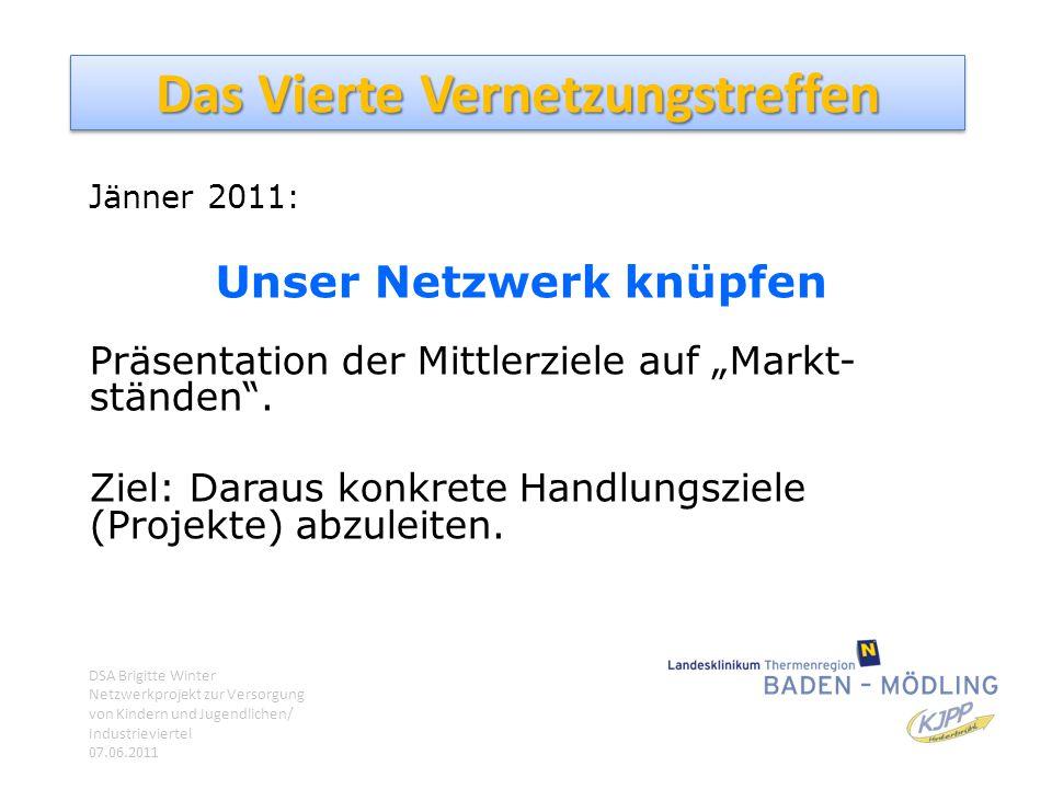 """Das Vierte Vernetzungstreffen Jänner 2011: Unser Netzwerk knüpfen Präsentation der Mittlerziele auf """"Markt- ständen"""". Ziel: Daraus konkrete Handlungsz"""