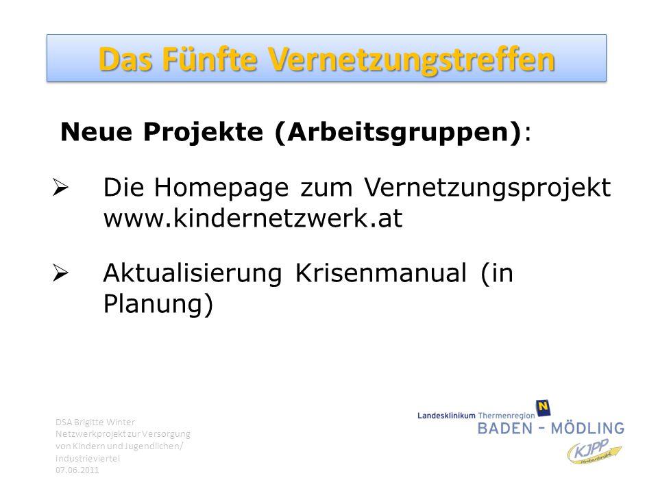 Das Fünfte Vernetzungstreffen Neue Projekte (Arbeitsgruppen):  Die Homepage zum Vernetzungsprojekt www.kindernetzwerk.at  Aktualisierung Krisenmanua