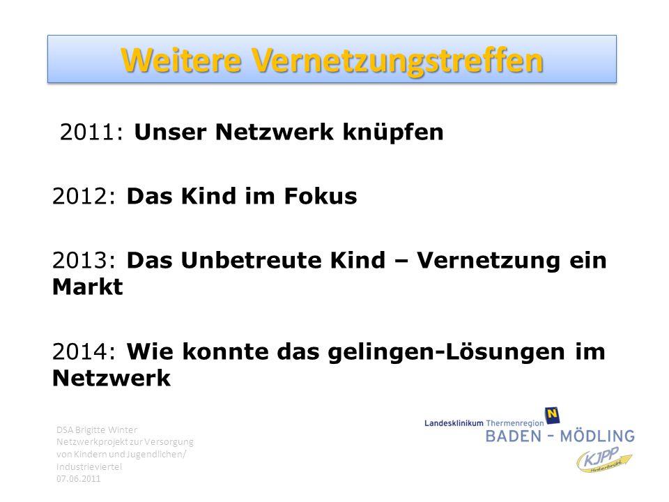 Weitere Vernetzungstreffen 2011: Unser Netzwerk knüpfen 2012: Das Kind im Fokus 2013: Das Unbetreute Kind – Vernetzung ein Markt 2014: Wie konnte das