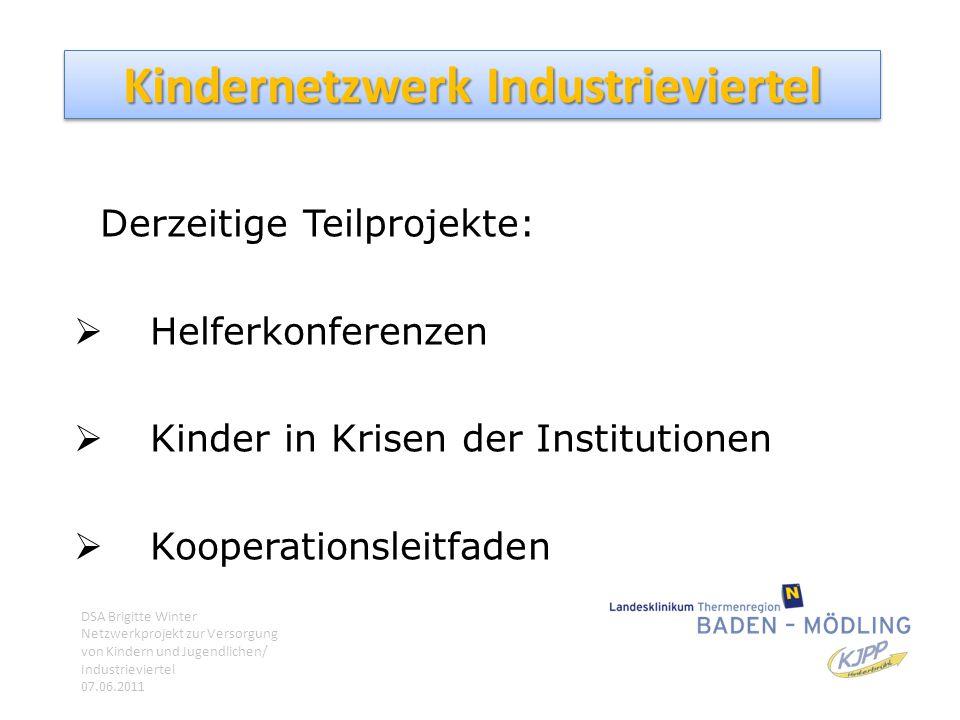 Kindernetzwerk Industrieviertel Derzeitige Teilprojekte:  Helferkonferenzen  Kinder in Krisen der Institutionen  Kooperationsleitfaden DSA Brigitte