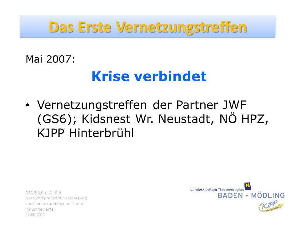 Das Erste Vernetzungstreffen Mai 2007: Krise verbindet Vernetzungstreffen der Partner JWF (GS6); Kidsnest Wr. Neustadt, NÖ HPZ, KJPP Hinterbrühl DSA B