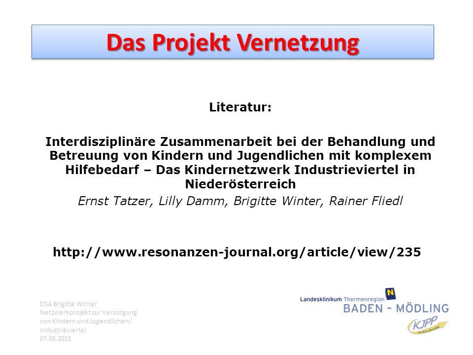 Das Projekt Vernetzung Literatur: Interdisziplinäre Zusammenarbeit bei der Behandlung und Betreuung von Kindern und Jugendlichen mit komplexem Hilfebe
