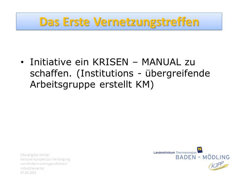 Das Erste Vernetzungstreffen Initiative ein KRISEN – MANUAL zu schaffen. (Institutions - übergreifende Arbeitsgruppe erstellt KM) DSA Brigitte Winter