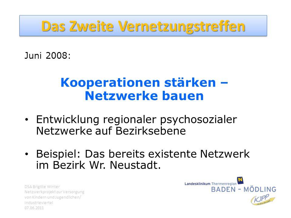Das Zweite Vernetzungstreffen Juni 2008: Kooperationen stärken – Netzwerke bauen Entwicklung regionaler psychosozialer Netzwerke auf Bezirksebene Beis