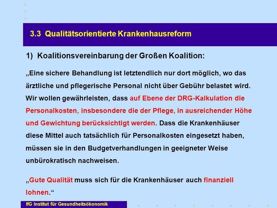 """IfG Institut für Gesundheitsökonomik 3.3 Qualitätsorientierte Krankenhausreform """"Eine sichere Behandlung ist letztendlich nur dort möglich, wo das ärz"""