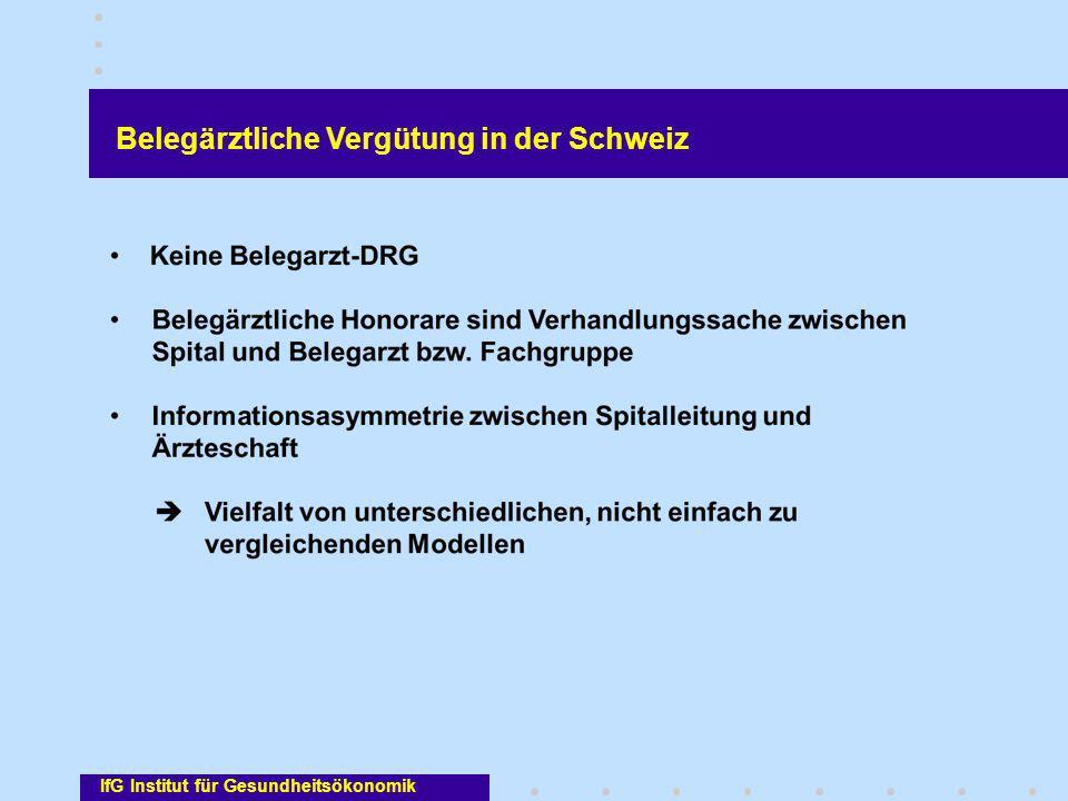 IfG Institut für Gesundheitsökonomik Belegärztliche Vergütung in der Schweiz
