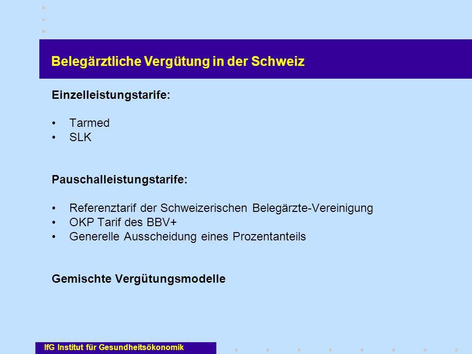 IfG Institut für Gesundheitsökonomik Einzelleistungstarife: Tarmed SLK Pauschalleistungstarife: Referenztarif der Schweizerischen Belegärzte-Vereinigu