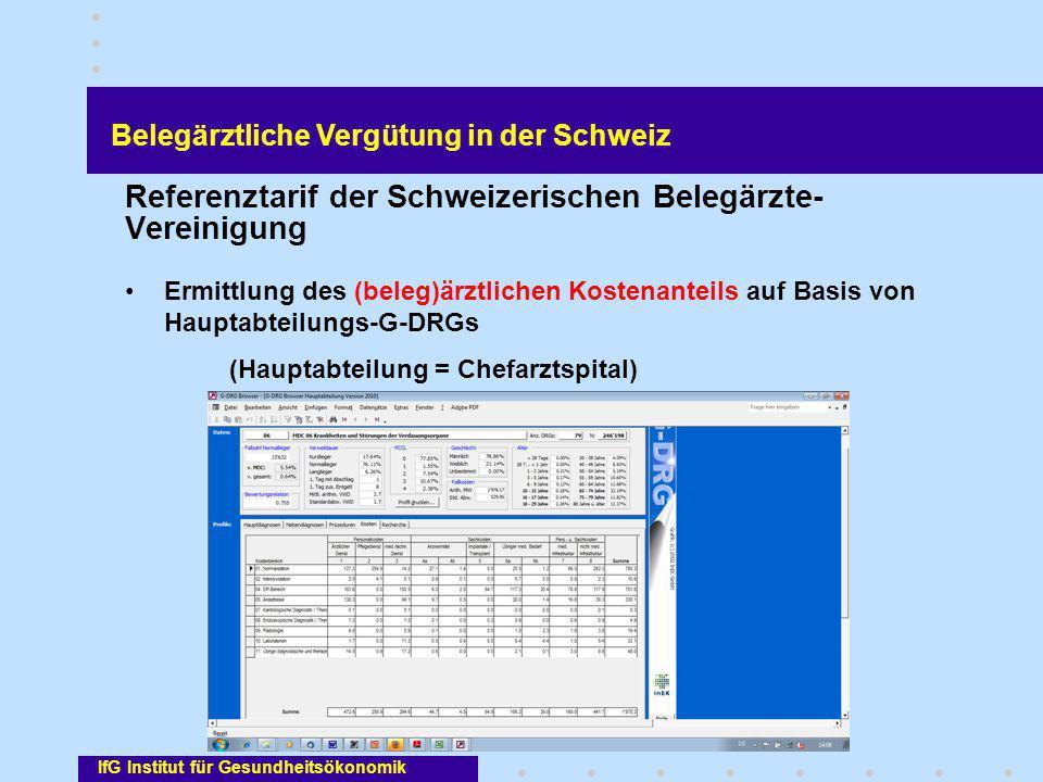 IfG Institut für Gesundheitsökonomik Referenztarif der Schweizerischen Belegärzte- Vereinigung Ermittlung des (beleg)ärztlichen Kostenanteils auf Basi