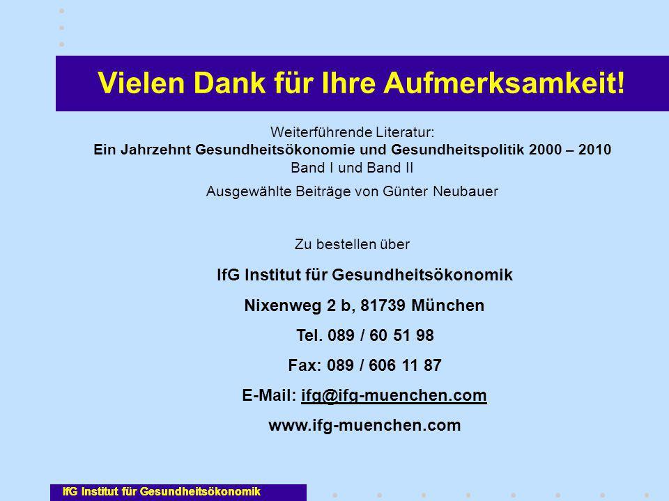 Vielen Dank für Ihre Aufmerksamkeit! IfG Institut für Gesundheitsökonomik Nixenweg 2 b, 81739 München Tel. 089 / 60 51 98 Fax: 089 / 606 11 87 E-Mail:
