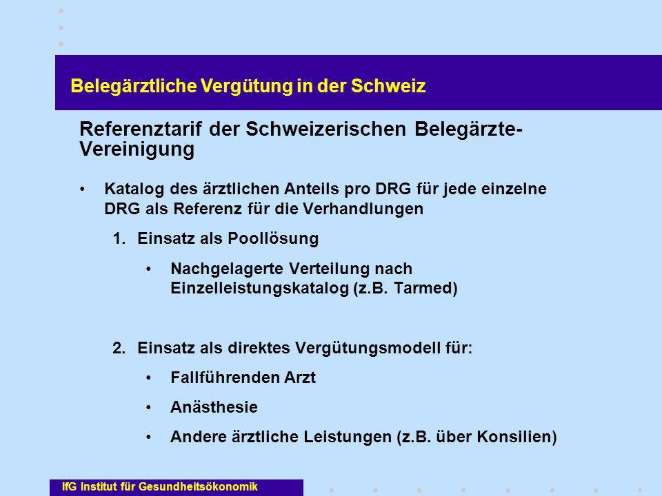 Referenztarif der Schweizerischen Belegärzte- Vereinigung Katalog des ärztlichen Anteils pro DRG für jede einzelne DRG als Referenz für die Verhandlun