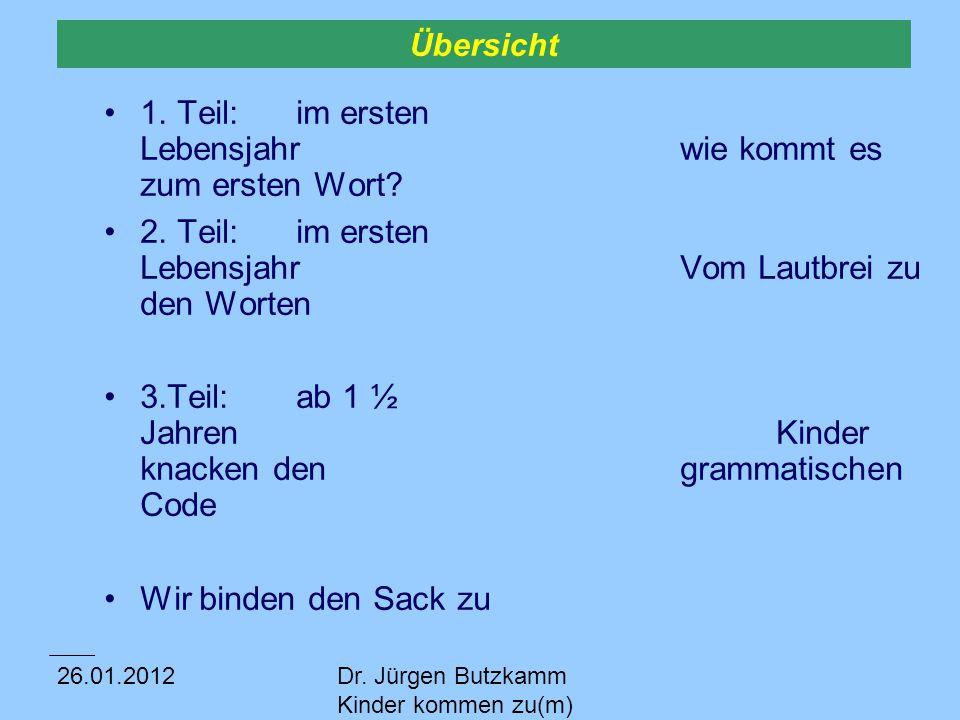 26.01.2012Dr.Jürgen Butzkamm Kinder kommen zu(m) Wort 1.Teil Wie kommt es zum ersten Wort.