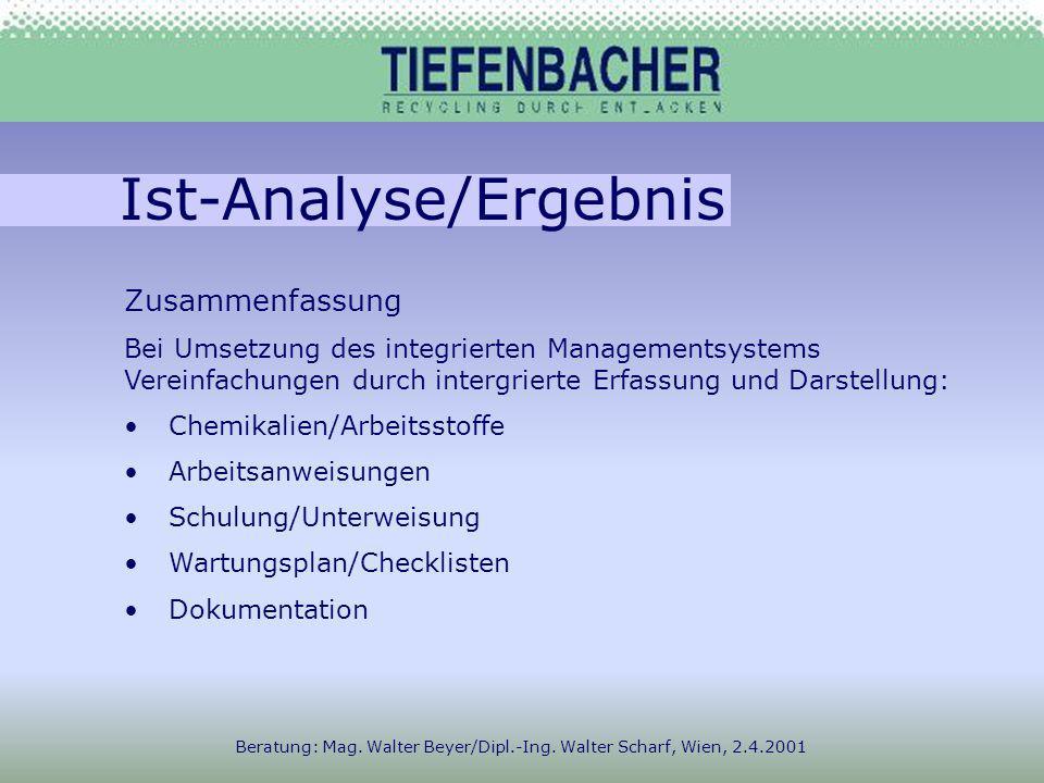 Ist-Analyse/Ergebnis Beratung: Mag. Walter Beyer/Dipl.-Ing.