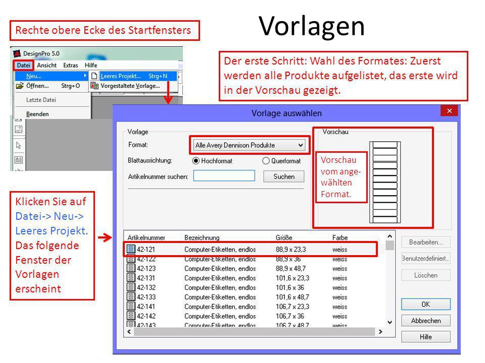 Vorlagen Vorschau vom ange- wählten Format. Rechte obere Ecke des Startfensters Klicken Sie auf Datei-> Neu-> Leeres Projekt. Das folgende Fenster der