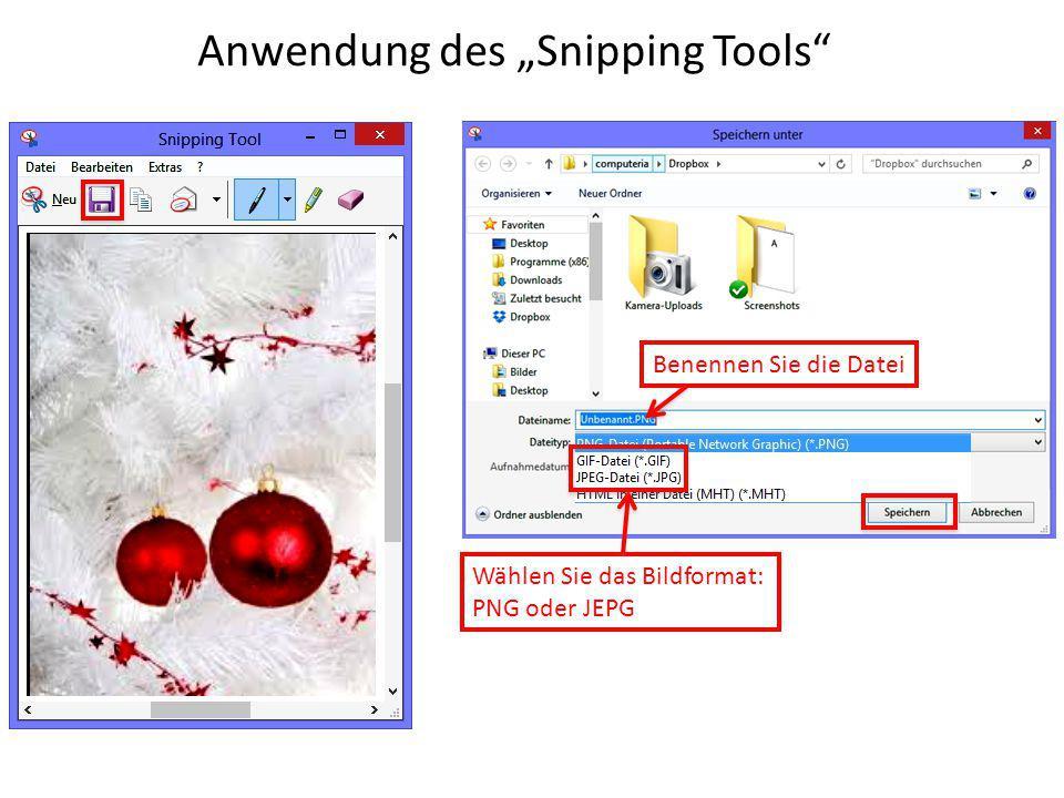 """Anwendung des """"Snipping Tools"""" Benennen Sie die Datei Wählen Sie das Bildformat: PNG oder JEPG"""