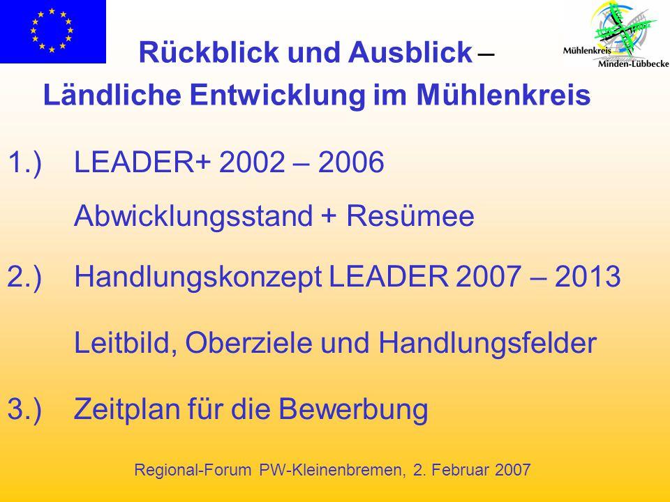 Regional-Forum PW-Kleinenbremen, 2. Februar 2007 1.) LEADER+ 2002 – 2006 Abwicklungsstand + Resümee 2.)Handlungskonzept LEADER 2007 – 2013 Leitbild, O