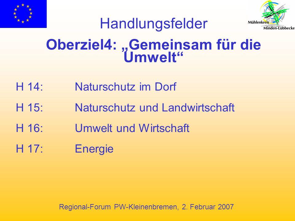 """Regional-Forum PW-Kleinenbremen, 2. Februar 2007 Handlungsfelder Oberziel4: """"Gemeinsam für die Umwelt"""" H 14:Naturschutz im Dorf H 15:Naturschutz und L"""