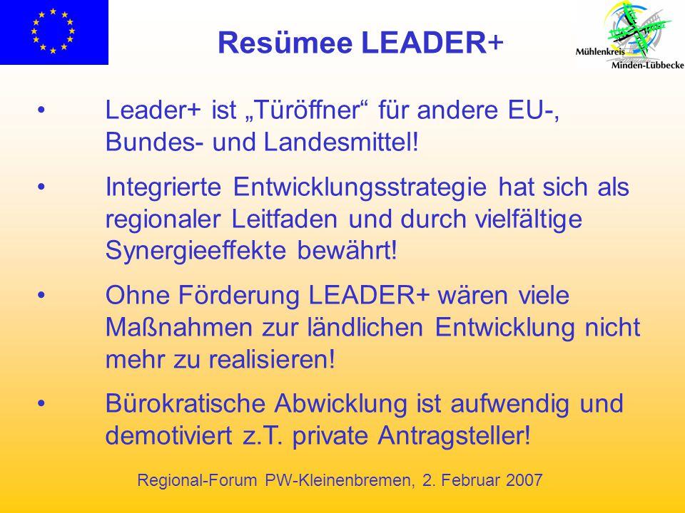 """Regional-Forum PW-Kleinenbremen, 2. Februar 2007 Resümee LEADER+ Leader+ ist """"Türöffner"""" für andere EU-, Bundes- und Landesmittel! Integrierte Entwick"""
