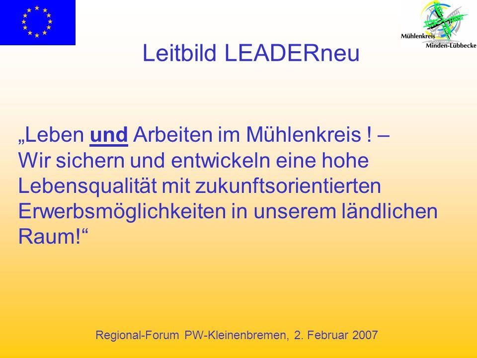 """Regional-Forum PW-Kleinenbremen, 2. Februar 2007 Leitbild LEADERneu """"Leben und Arbeiten im Mühlenkreis ! – Wir sichern und entwickeln eine hohe Lebens"""