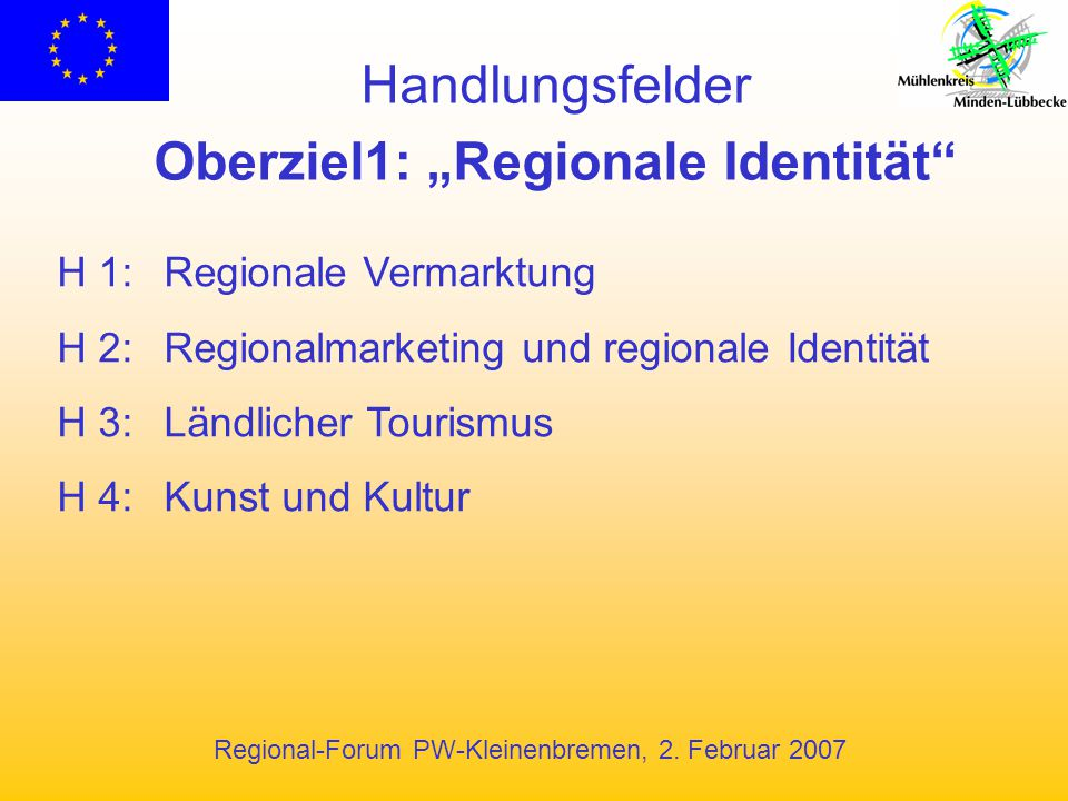 """Regional-Forum PW-Kleinenbremen, 2. Februar 2007 Handlungsfelder Oberziel1: """"Regionale Identität"""" H 1:Regionale Vermarktung H 2:Regionalmarketing und"""