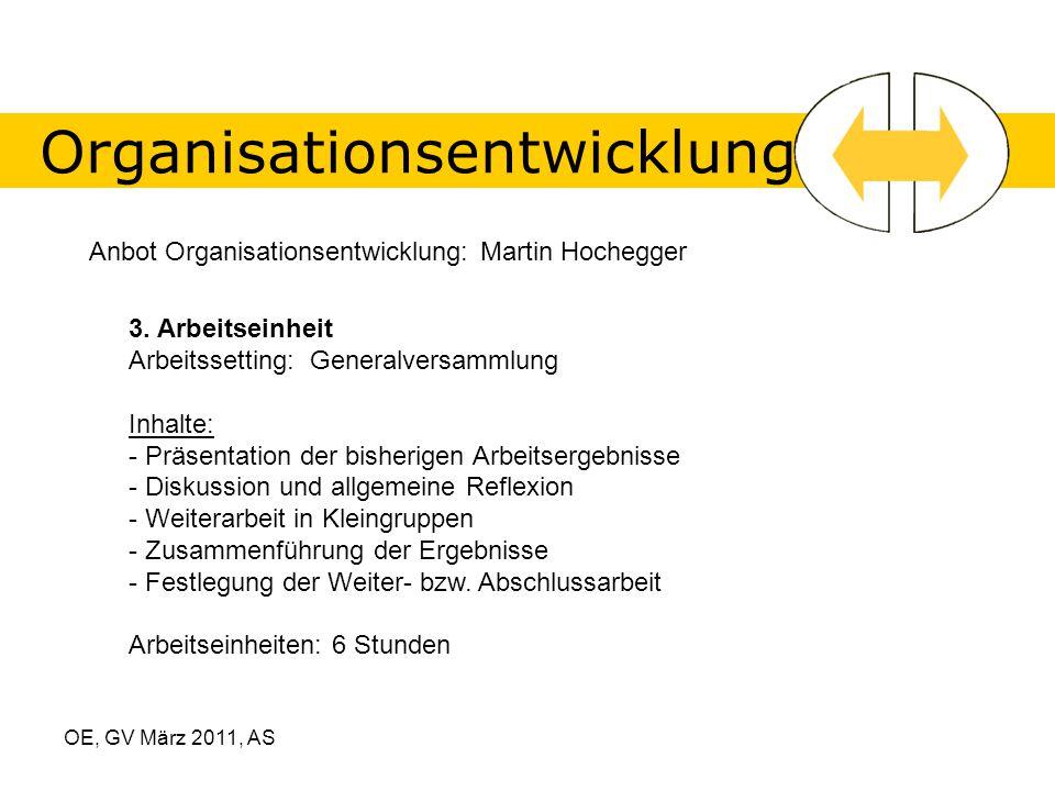 OE, GV März 2011, AS Organisationsentwicklung Anbot Organisationsentwicklung: Martin Hochegger 3.