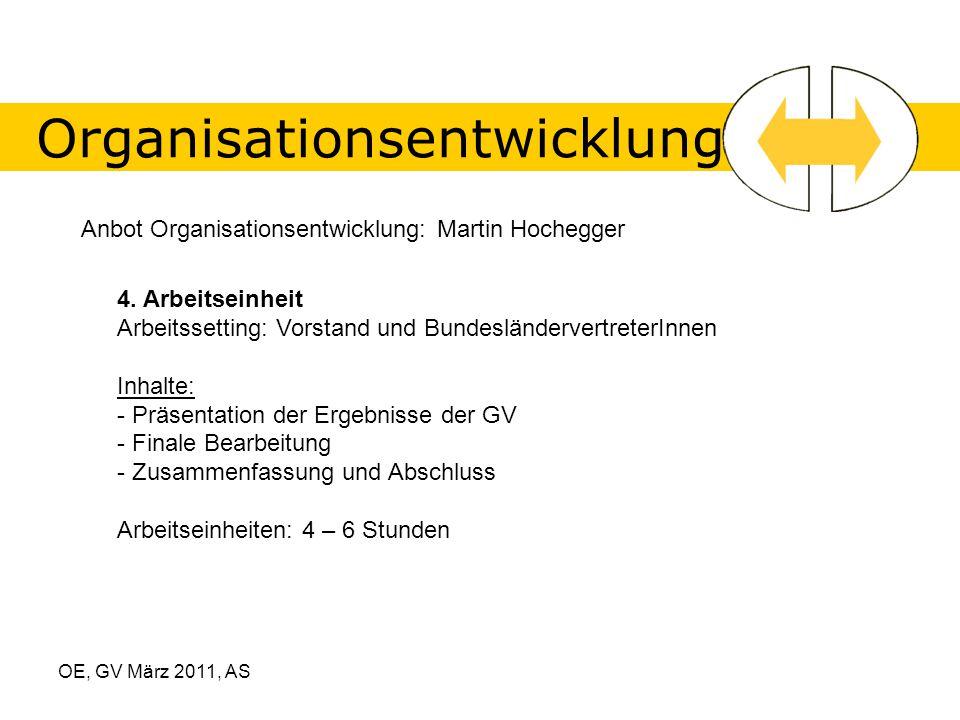 OE, GV März 2011, AS Organisationsentwicklung Anbot Organisationsentwicklung: Martin Hochegger 4.