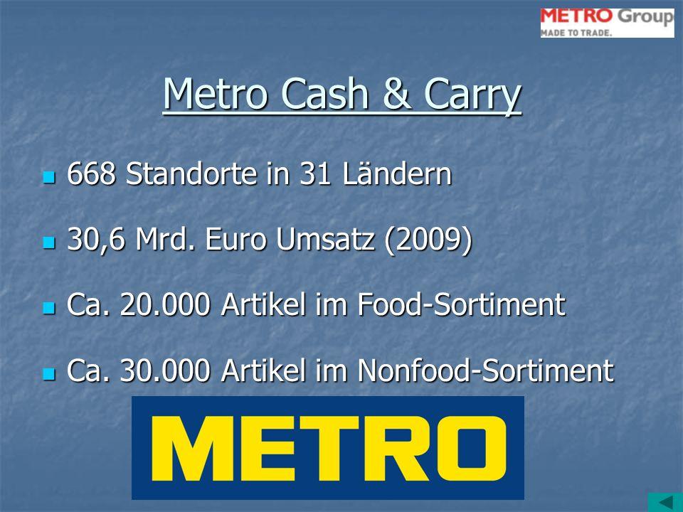 Metro Cash & Carry 668 Standorte in 31 Ländern 668 Standorte in 31 Ländern 30,6 Mrd. Euro Umsatz (2009) 30,6 Mrd. Euro Umsatz (2009) Ca. 20.000 Artike