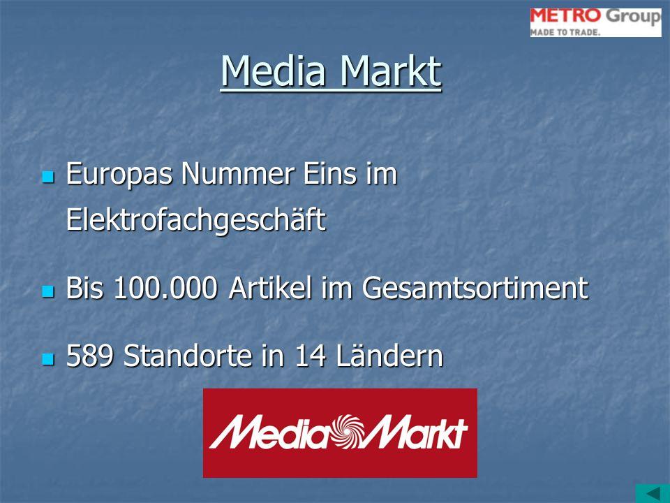 Media Markt Europas Nummer Eins im Elektrofachgeschäft Europas Nummer Eins im Elektrofachgeschäft Bis 100.000 Artikel im Gesamtsortiment Bis 100.000 A