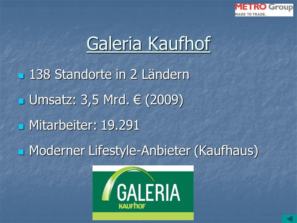 Galeria Kaufhof 138 Standorte in 2 Ländern 138 Standorte in 2 Ländern Umsatz: 3,5 Mrd. € (2009) Umsatz: 3,5 Mrd. € (2009) Mitarbeiter: 19.291 Mitarbei