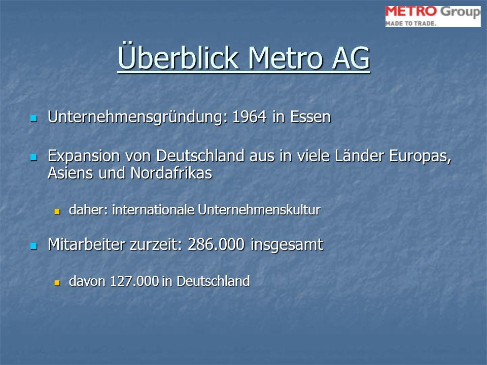 Überblick Metro AG Unternehmensgründung: 1964 in Essen Expansion von Deutschland aus in viele Länder Europas, Asiens und Nordafrikas daher: internatio