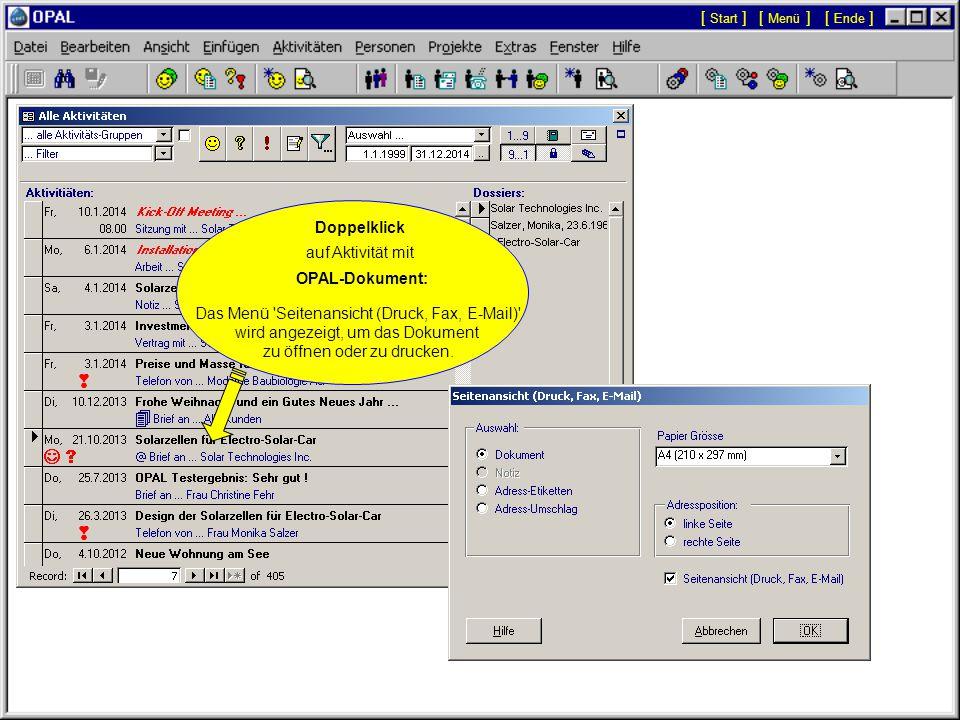 Doppelklick auf Aktivität mit Hyperlink-Dokument: Das Dokument wird automatisch in seiner Applikation geöffnet (z.B.