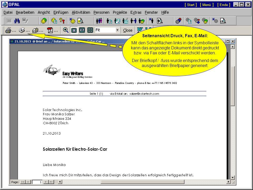 Doppelklick auf Aktivität mit OPAL-Dokument: Das Menü Seitenansicht (Druck, Fax, E-Mail) wird angezeigt, um das Dokument zu öffnen oder zu drucken.