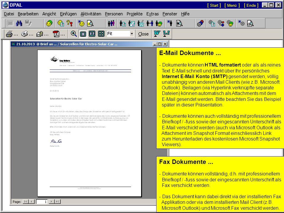 [ Menü ][ Start ][ Ende ] Seitenansicht Druck, Fax, E-Mail: Mit den Schaltflächen links in der Symbolleiste kann das angezeigte Dokument direkt gedruckt bzw.