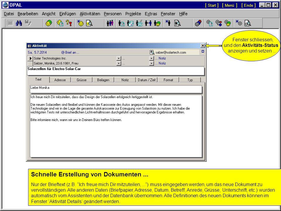 E-Mail bzw. Fax anzeigen und / oder direkt senden.