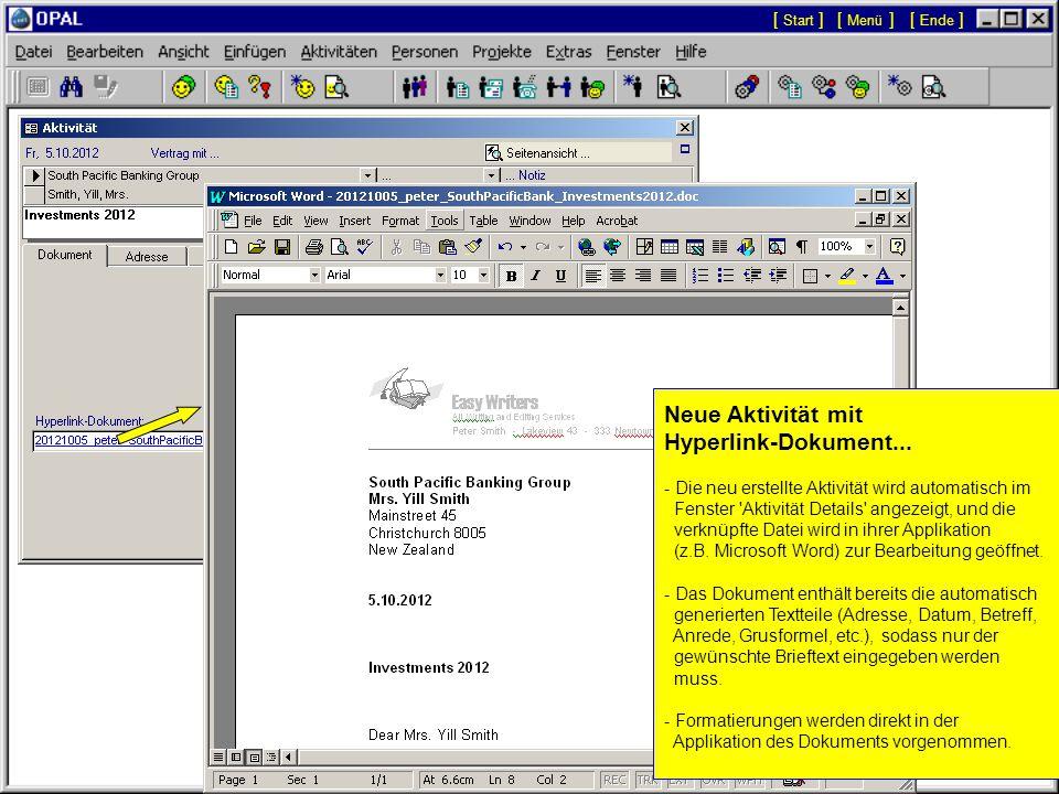 Neue Aktivität mit Hyperlink-Dokument...